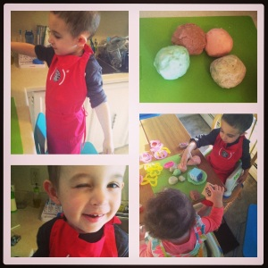 Making playdough!