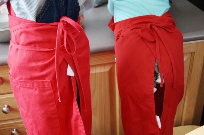 They both wanted red aprons today!