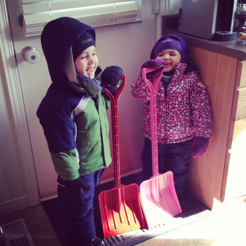 B picked them up some shovels. They are so jazzed about shoveling!