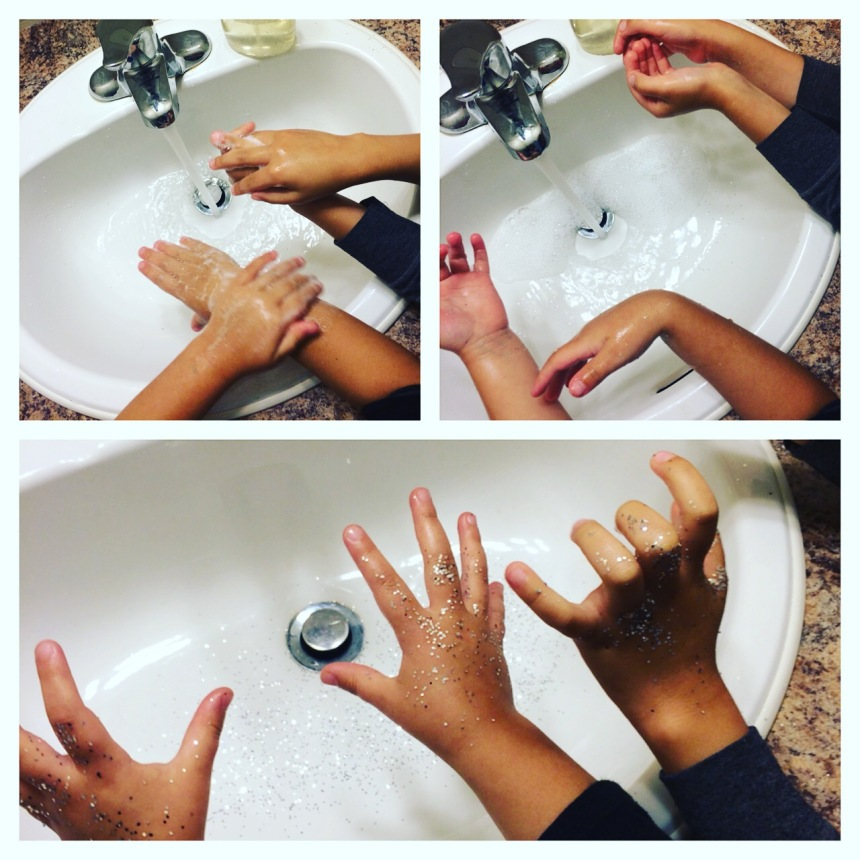 We also reviewed hand washing with the sparkle (germs) project we did last year. I felt it was worth reviewing!